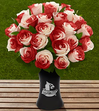 The FTD® University of Louisville® Cardinals™ Rose Bouquet - 24 Stems - VASE INCLUDED