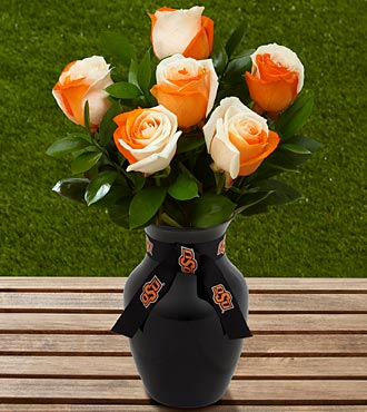 The FTD® Oklahoma State University® Cowboys™ Rose Bouquet - 6 Stems - VASE INCLUDED