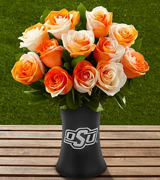 The FTD® Oklahoma State University® Cowboys™ Rose Bouquet - 12 Stems - VASE INCLUDED