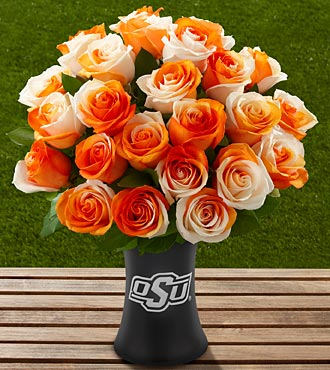 The FTD® Oklahoma State University® Cowboys™ Rose Bouquet - 24 Stems - VASE INCLUDED