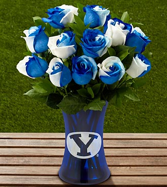 The FTD® Brigham Young University® Cougars™ Rose Bouquet - 12 Stems - VASE INCLUDED