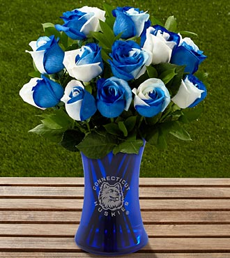 The FTD® University of Connecticut® Huskies™ Rose Bouquet - 12 Stems - VASE INCLUDED