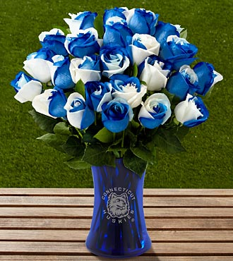 The FTD® University of Connecticut® Huskies™ Rose Bouquet - 24 Stems - VASE INCLUDED