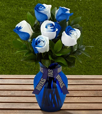 The FTD® Georgetown University® Hoyas® Rose Bouquet - 6 Stems - VASE INCLUDED