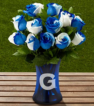The FTD® Georgetown University® Hoyas® Rose Bouquet - 12 Stems - VASE INCLUDED