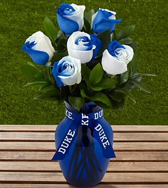 The FTD&reg; Duke University&reg; Blue Devils&reg; Rose Bouquet - 6 Stems - VASE INCLUDED