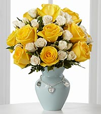 The Mother's Charm™ Rose Bouquet by FTD ®- Boy - VASE INCLUDED