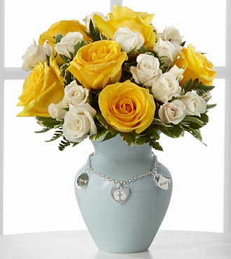The Mother's Charm&trade; Rose Bouquet by FTD&reg;- Boy - VASE INCLUDED