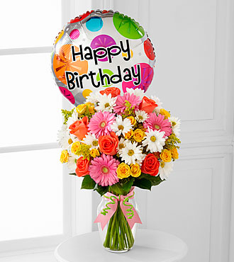 Birthday Cheer Flowers By FTD - Vase Included