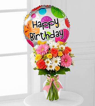 The Birthday Cheer™ Bouquet  by FTD® - VASE INCLUDED