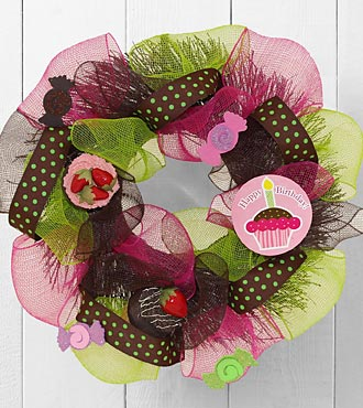 Happy Birthday Greetings Wreath