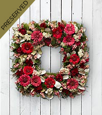Bold Impressions Dried & Preserved Zinnia Wreath