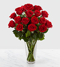 The FTD® Long Stem Red Rose Bouquet - 18 Stems - VASE INCLUDED