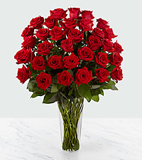 The Long Stem Red Rose Bouquet by FTD ® - 36 Stems - VASE INCLUDED