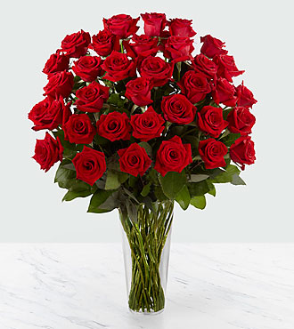 The Long Stem Red Rose Bouquet by FTD&reg; - 36 Stems - VASE INCLUDED