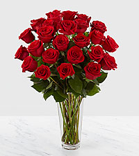 The Long Stem Red Rose Bouquet by FTD ® - 24 Stems - VASE INCLUDED