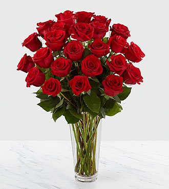 The Long Stem Red Rose Bouquet by FTD&reg; - 24 Stems - VASE INCLUDED