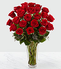 Le bouquet de roses rouges � longues tiges de FTD� - VASE INCLUS