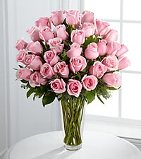 The Long Stem Pink Rose Bouquet by FTD ® - VASE INCLUDED