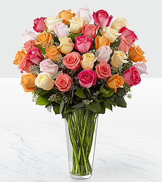 The Graceful Grandeur&trade; Rose Bouquet by FTD&reg; - 36 Stems - VASE INCLUDED