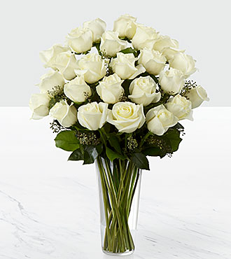 The White Rose Bouquet by FTD&reg; - VASE INCLUDED