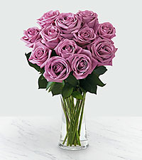 12 Lavender Roses - Vase Included