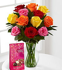 Mixed Dozen Long Stem Roses - Vase & 12pc Godiva Truffle Chocolates Included