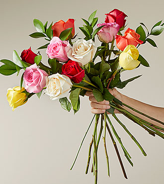 Valentine&#39;s Flowers - Simply Cheerful Mixed Rose Flower Bouquet - 12 Stems of 16-inch Roses with Vase