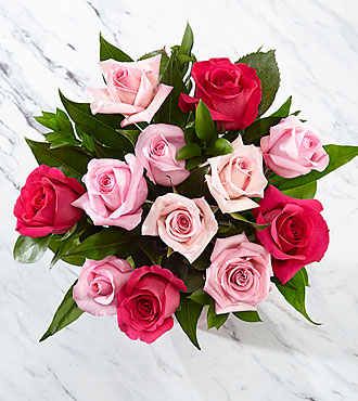 Perfectly Pink Rose Bouquet - 12 Stems of 16-inch Roses, no vase