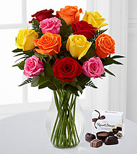 Beautiful Love Mixed Rose Bouquet - 12 Stems with FREE Chocolates - VASE INCLUDED