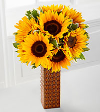 Endless Summer Sunflower Bouquet- 9 stems- VASE INCLUDED