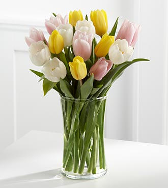 Sunset Escape Tulip Bouquet - 15 Stems - VASE INCLUDED