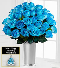 The Floral Gemstone Blue Brilliance Topaz Rose Bouquet