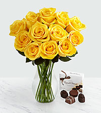 Spring Shine Rose Bouquet with FREE Chocolates - 12 stems - VASE INCLUDED