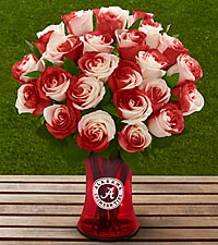 The FTD® University of Alabama® Crimson Tide® Rose Bouquet - VASE INCLUDED