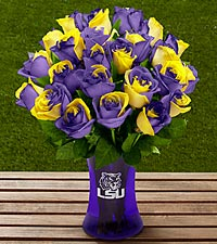 The FTD&reg; Louisiana State University&reg; Tigers&trade; Rose Bouquet - VASE INCLUDED