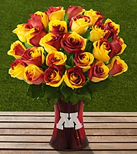 The FTD® University of Minnesota™ Golden Gophers™ Rose Bouquet - VASE INCLUDED