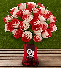 The FTD ® University of Oklahoma ® Sooners ® Rose Bouquet - VASE INCLUDED
