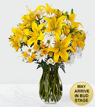 Flowers Come Rain Or Come Shine Flowers (Lilies, Daisies & Poms), Vase Included - Flower Delivery
