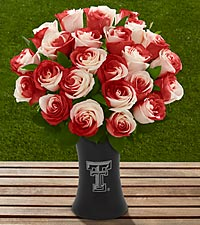 The FTD&reg; Texas Tech University&reg; Red Raiders&trade; Rose Bouquet - VASE INCLUDED