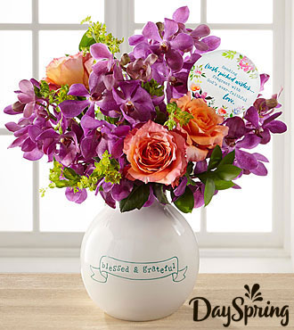 DaySpring Christian flowers and keepsake vase