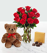 Valentine 's Red 1 Dozen Long Stem Roses with Godiva ® Chocolates and Bear - VASE INCLUDED