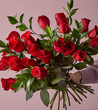 2 Dozen Long Stem Red Roses - FREE VASE