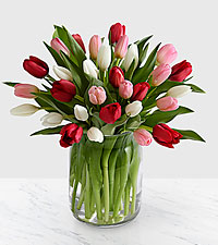 Here in My Heart Valentine Tulip Bouquet - 30 Stems- VASE INCLUDED