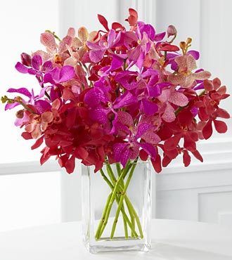 Tickled Pink Orchid Bouquet - 8 Stems - VASE INCLUDED