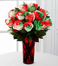 Holiday Festival Rainbow Rose Bouquet