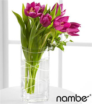 Veranda Views Tulip Bouquet in Crystal Nambé Vase - 6 Stems
