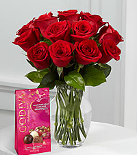True Love Valentine Rose Bouquet -12 Stems - Vase & 12pc Truffle Chocolates Included