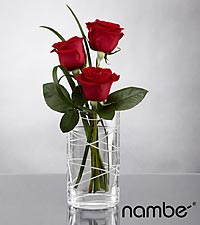 Romantic Inspirations Rose Bouquet in Crystal Nambé Vase - 3 Stems