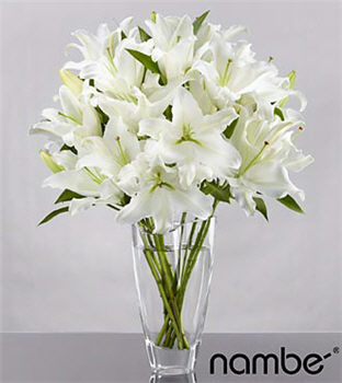 White Sands Lily Bouquet in Crystal Nambé Vase - 10 Stems